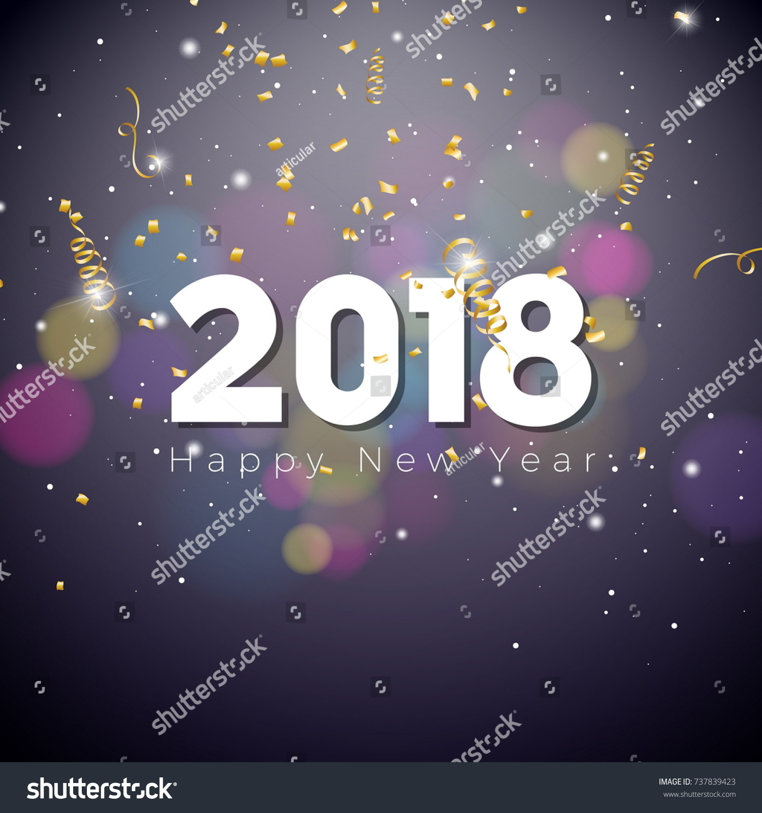vector happy new year 2018 illustration on shiny lighting dark background with typography