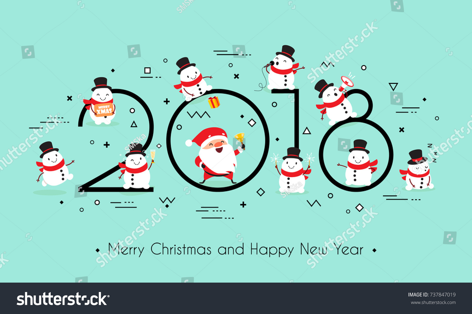 2018 Year Merry Christmas Happy New Stock Vector (Royalty Free ...