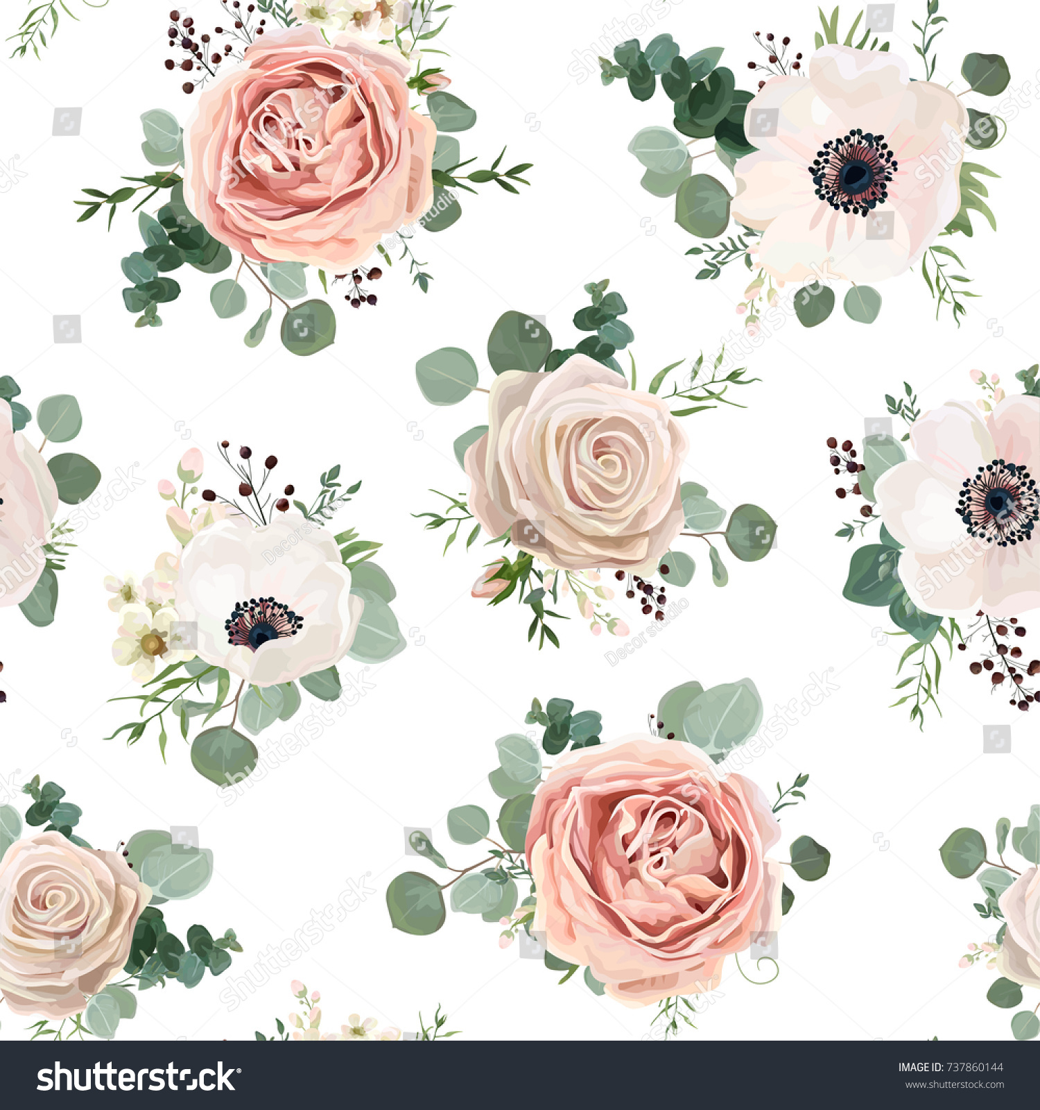 Seamless Pattern Vector Floral Watercolor Style Stock Vector Royalty Free 737860144