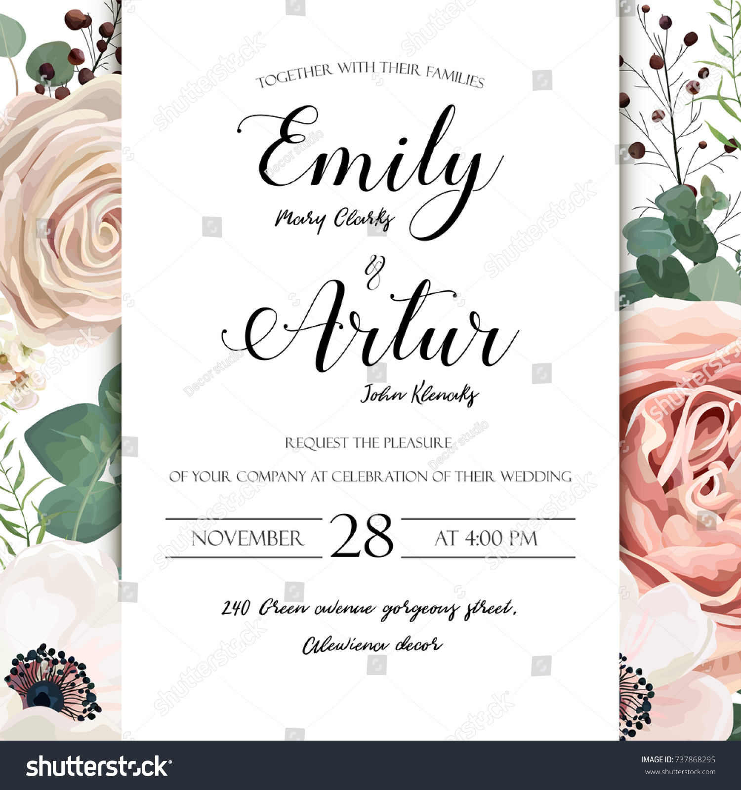 Floral Wedding Invitation Elegant Invite Card Stock Photo (Photo ...