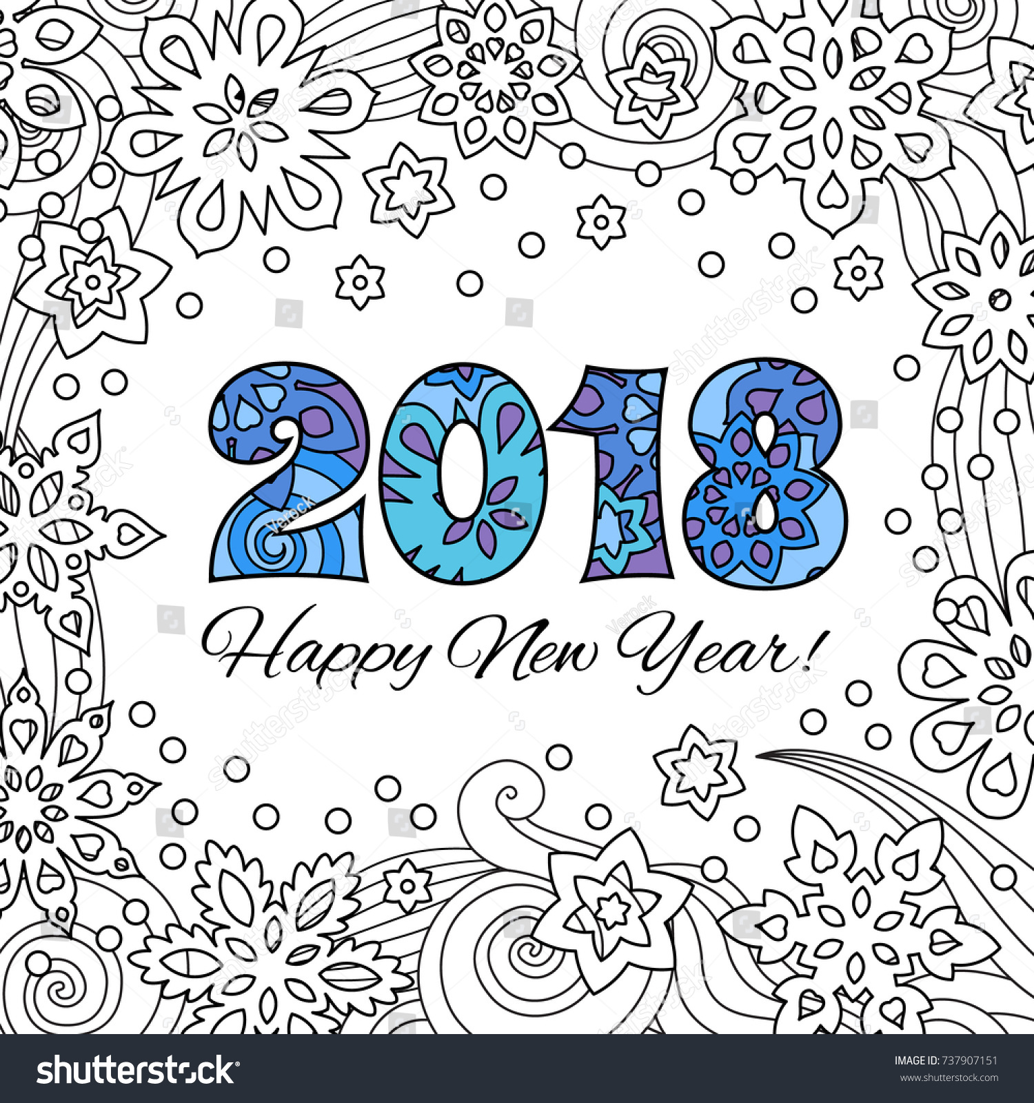 New Year Card Numbers 2018 On Stock Vector (Royalty Free) 737907151 ...