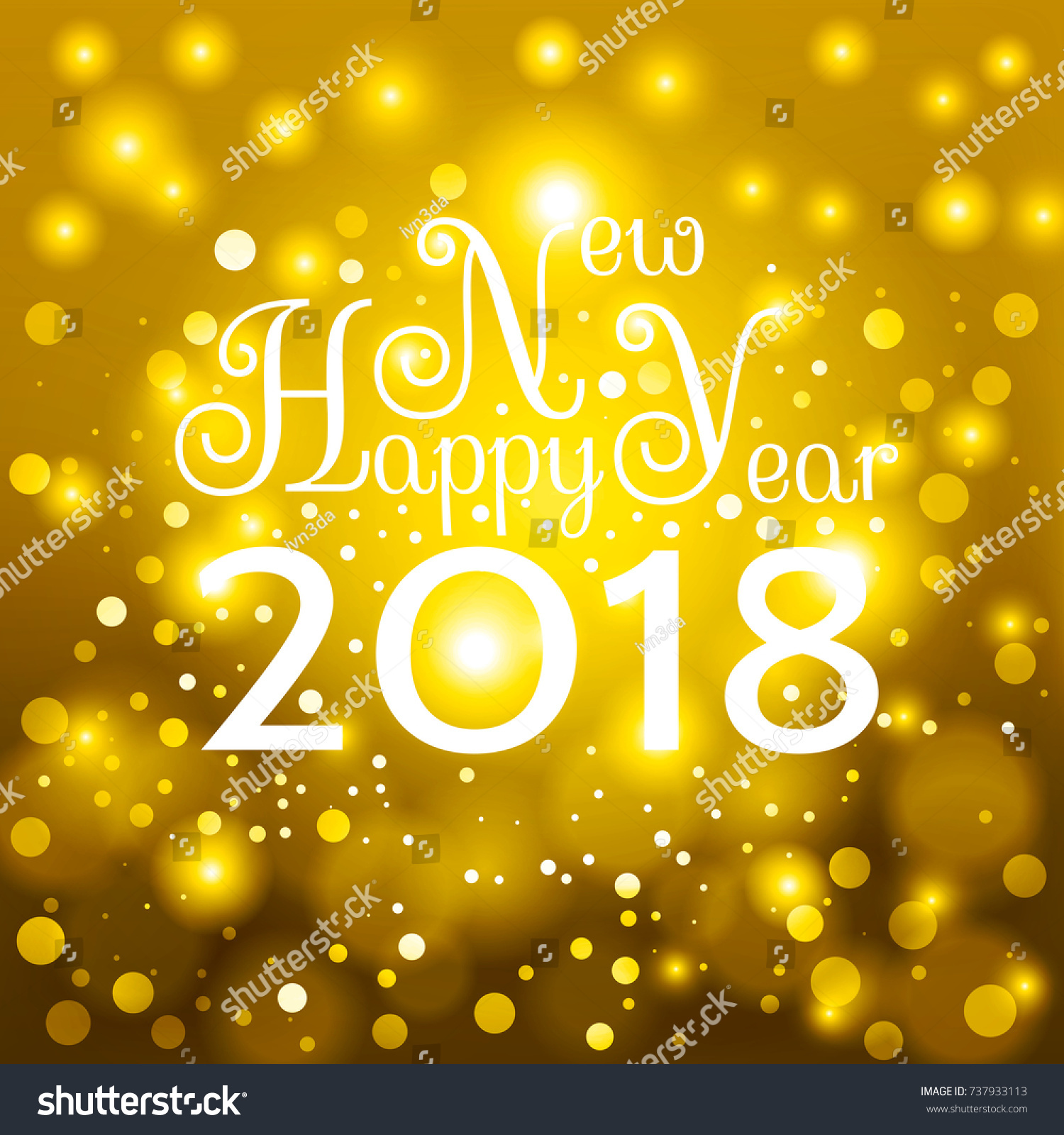 gold happy new year 2018 card nice inscription happy new year 2018 on a beautiful