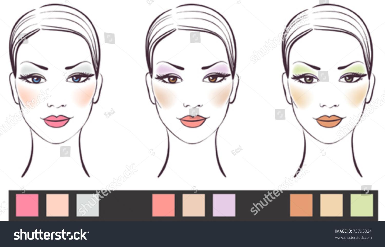 Рисунок лица девушки с макияжем