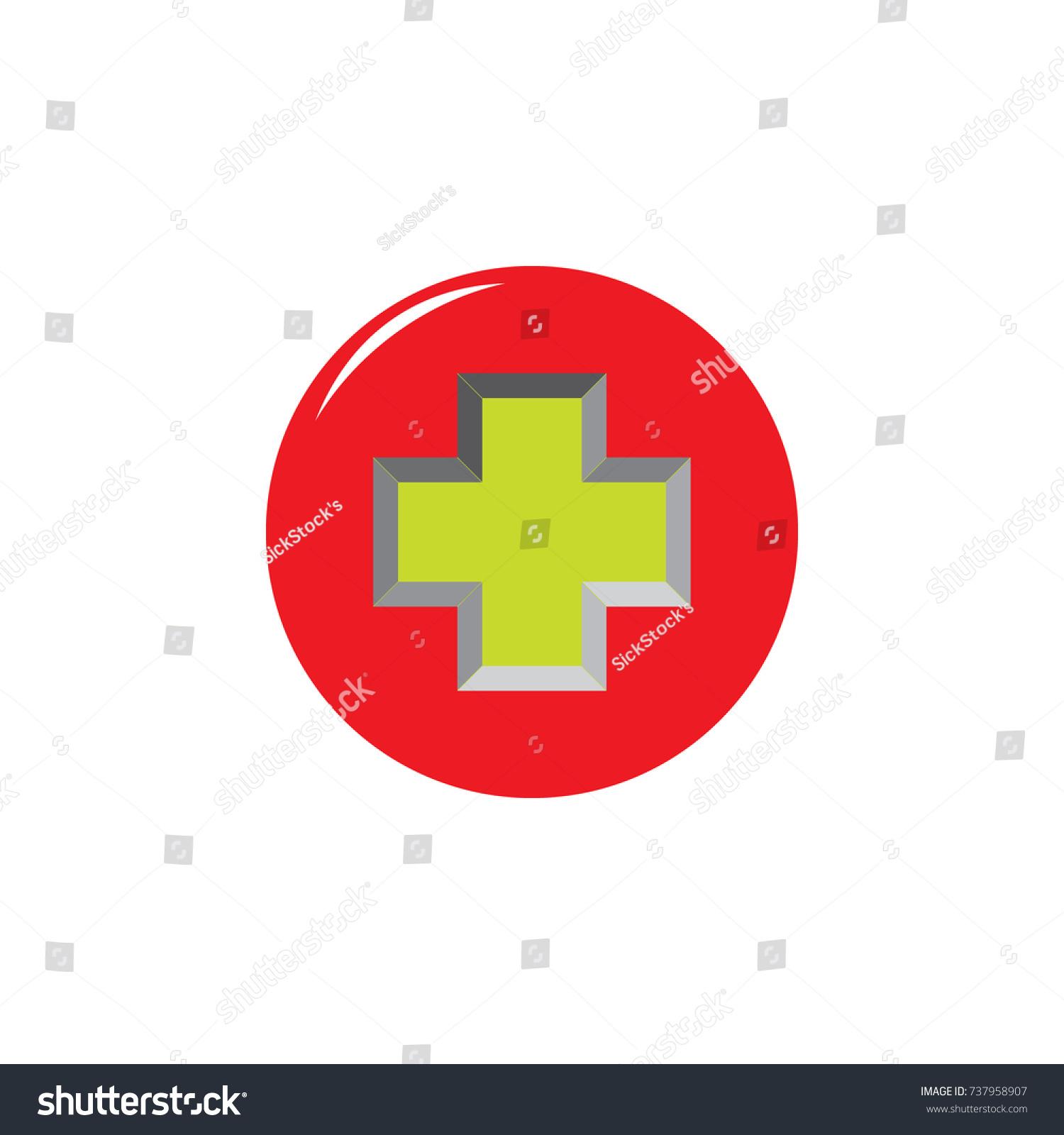Green Plus Symbol Red Circle Logo Stock Vector Royalty Free