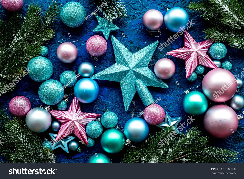 id 737983996 - Purple And Blue Christmas Tree Decorations