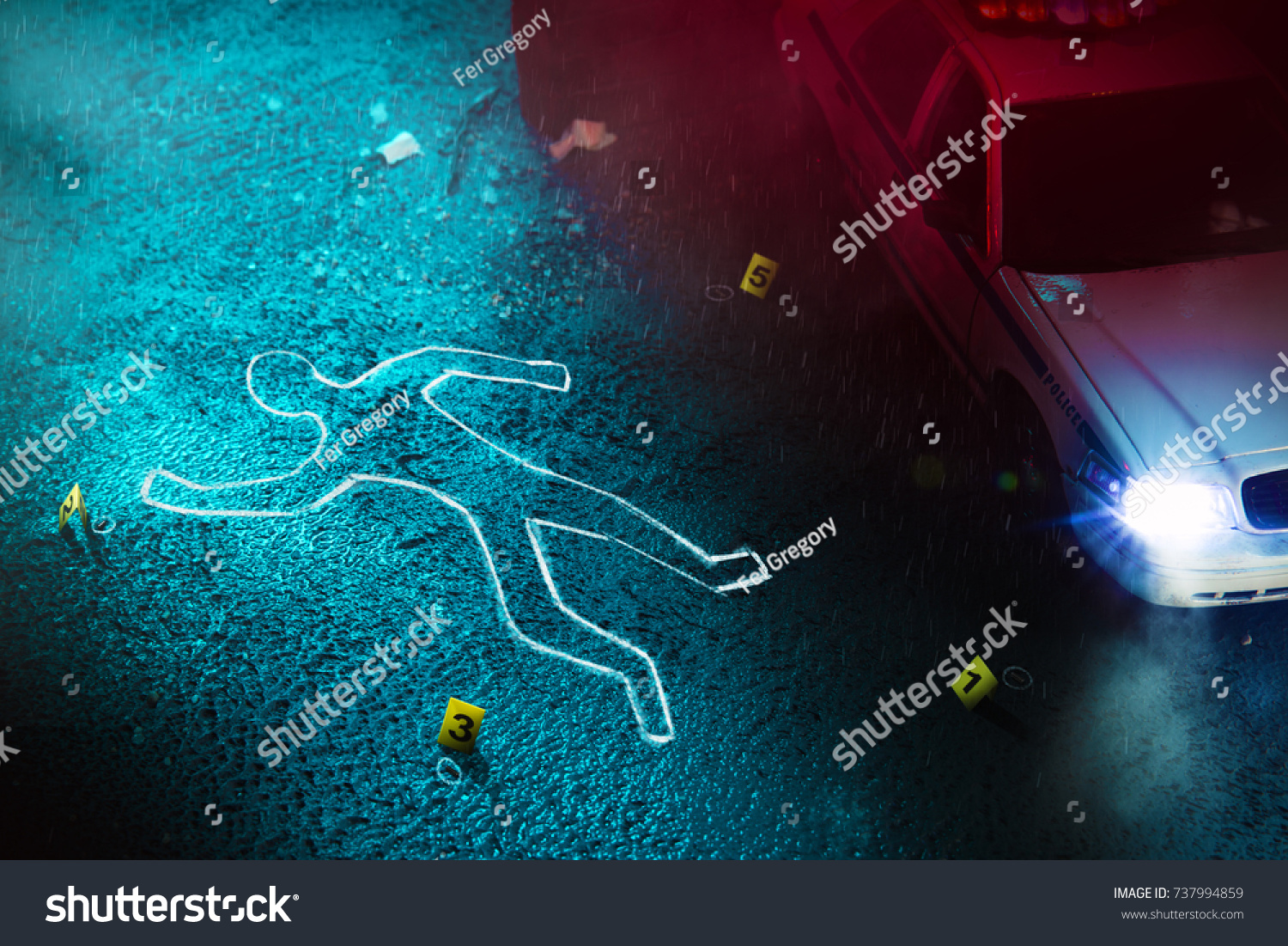 Crime Scene Body Outline Evidence Markers Stock Photo (Edit Now