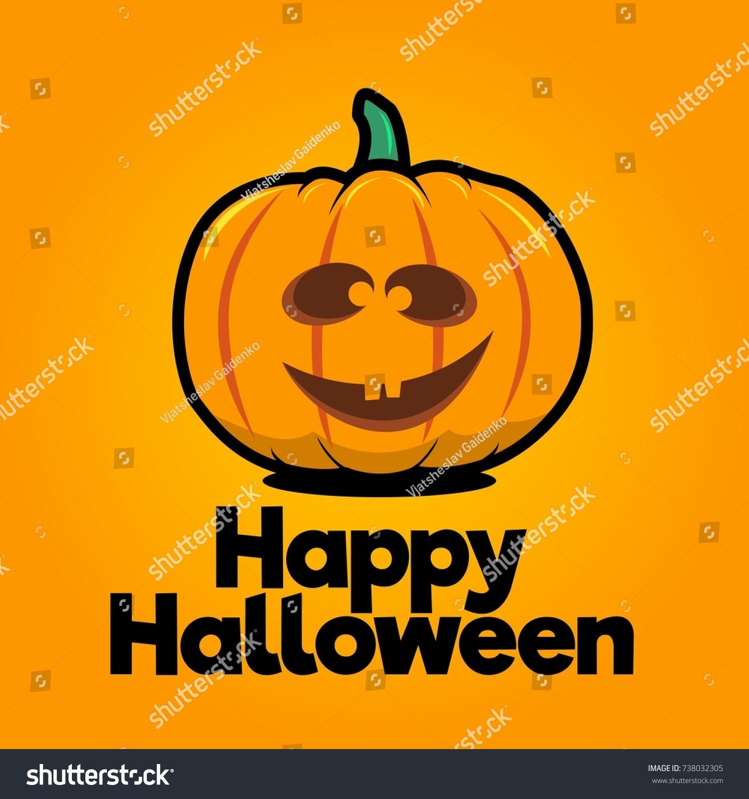 goofy halloween pumpkin vector happy halloween text on a bright orange background - Goofy Halloween Pictures