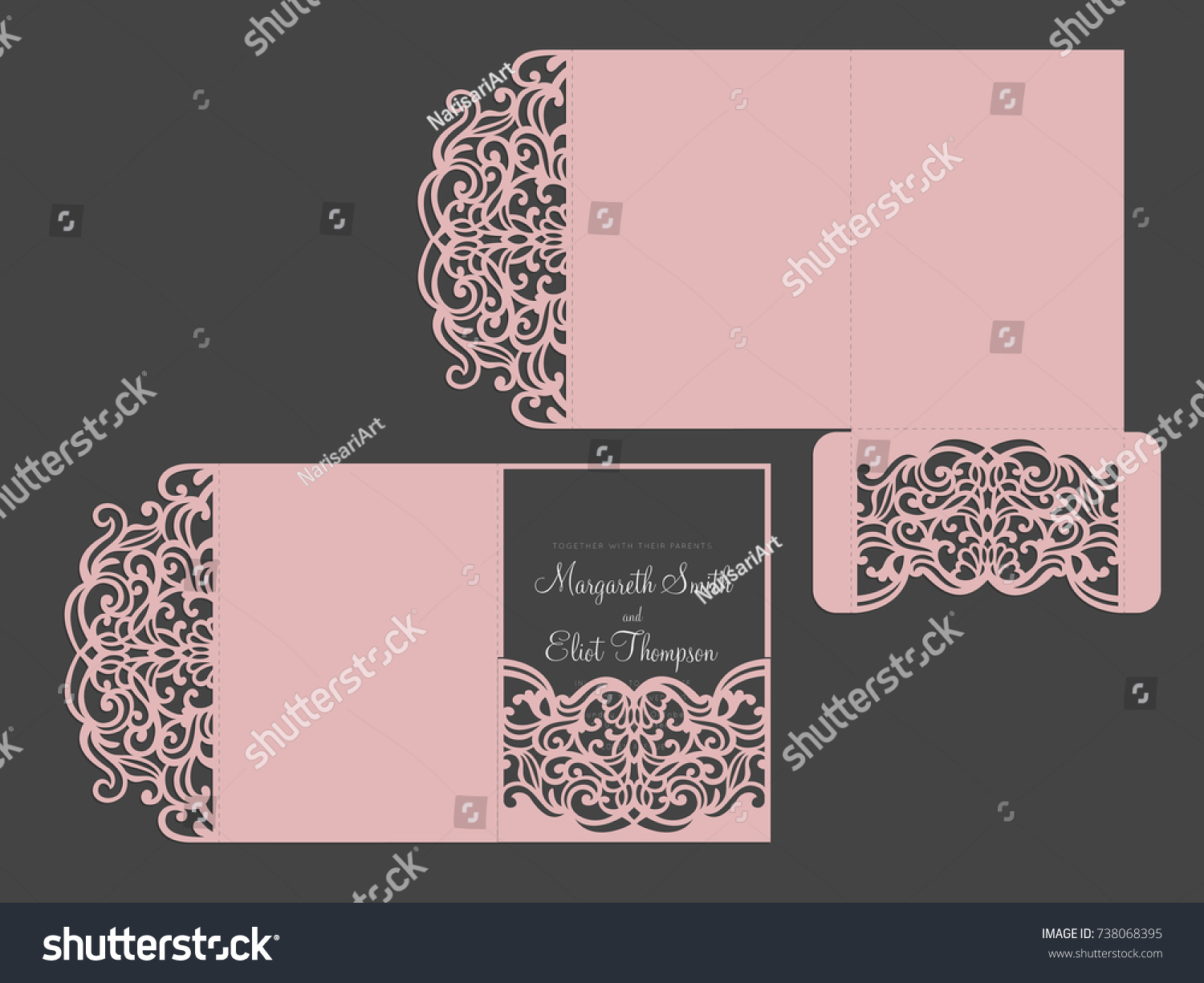 Tri Fold Pocket Envelope Laser Cut Stock Vector HD Royalty Free