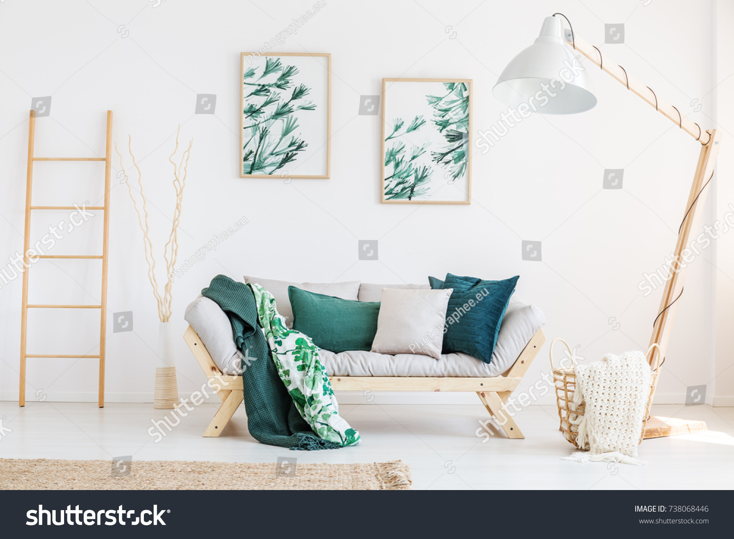 Leaves Painting Above Sofa Green Pillows Stock Photo 738068446  ~ Designer Pillows For Sofa