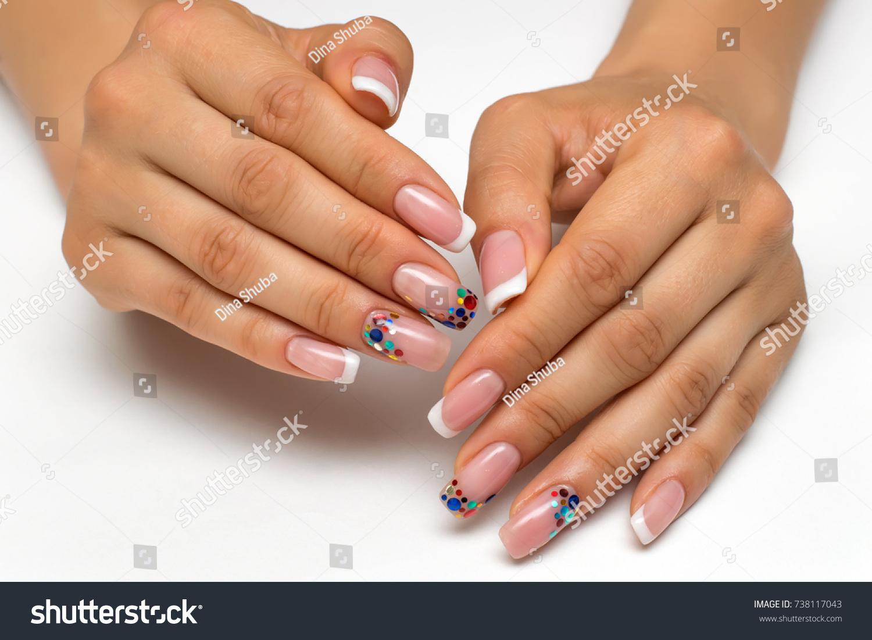 Wedding French White Manicure Sparkles Confetti Stock Photo & Image ...