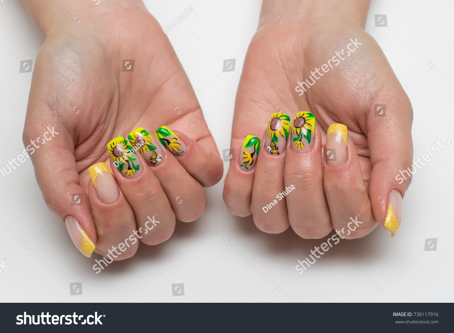 Summer Yellow French Manicure Sparkles Painted Stock Photo (Royalty ...