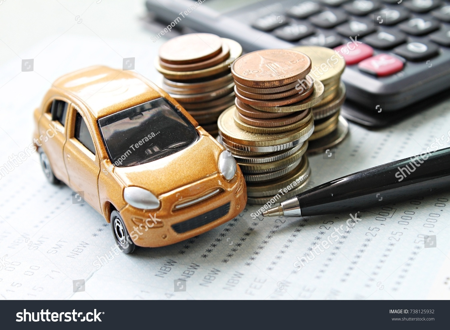 Business Finance Saving Money Or Car Loan Concept Miniature Car Model Coins