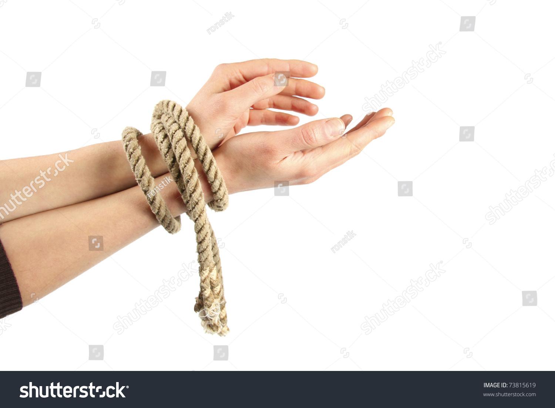 Bondage wrist tied palm to palm son