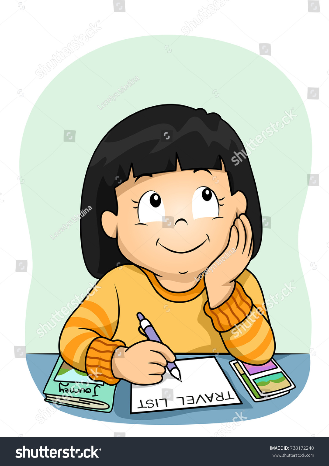 illustration kid girl thinking writing about stock vector (royalty