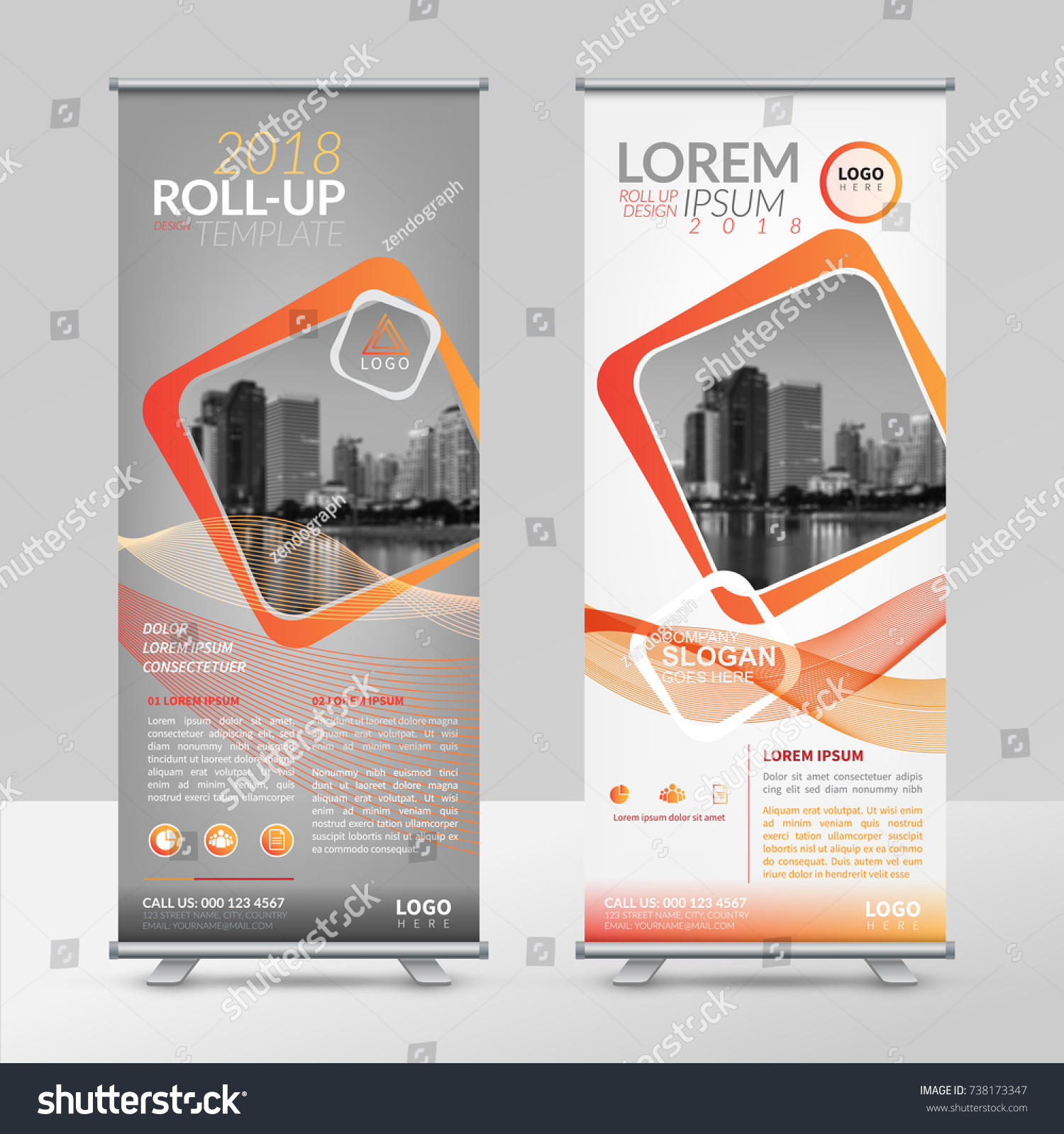 Business Roll Design Template Xstand Vertical Stock Vector (Royalty ...