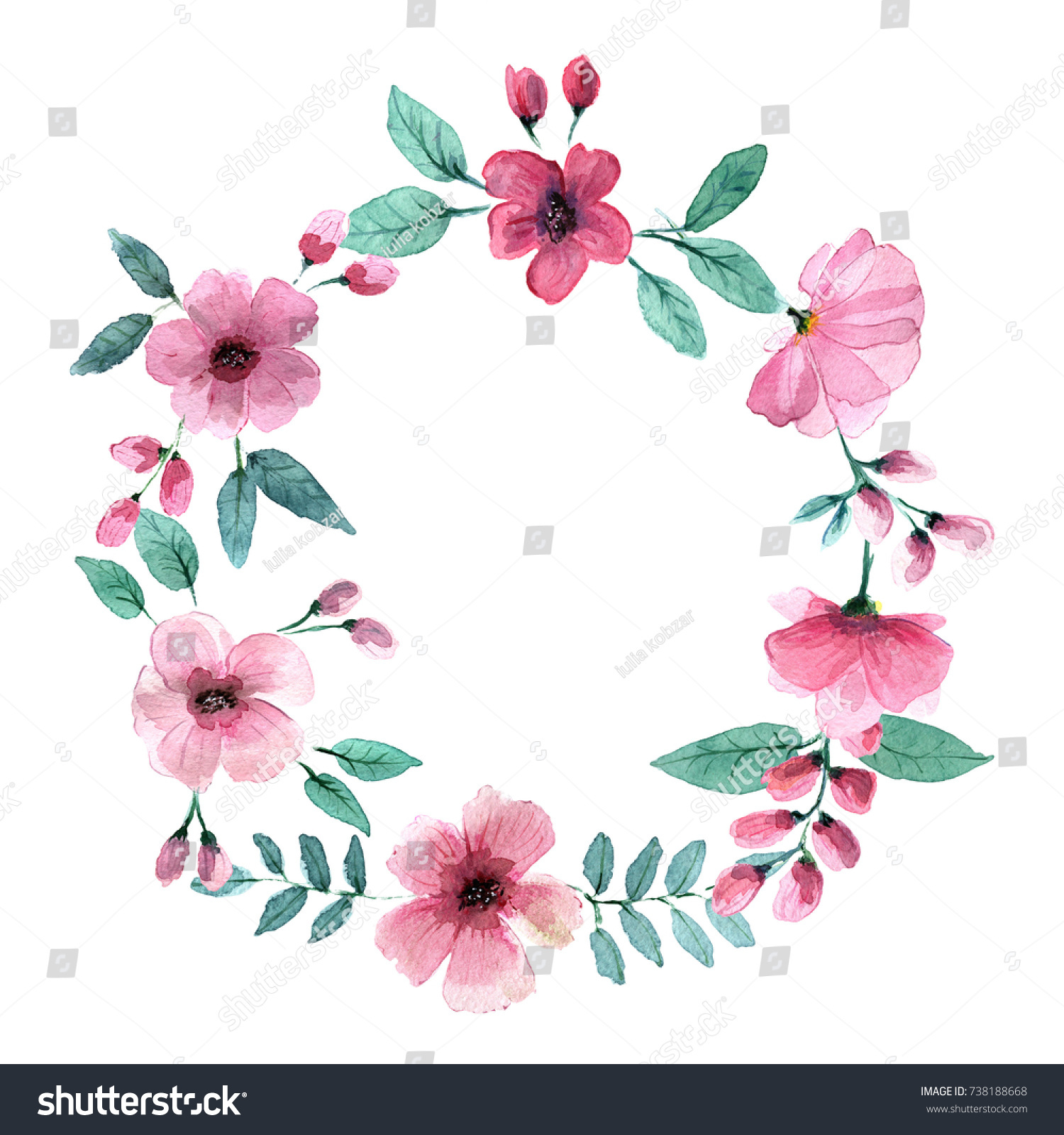 Delicate Pink Flowers Style Watercolors Stock Illustration 738188668