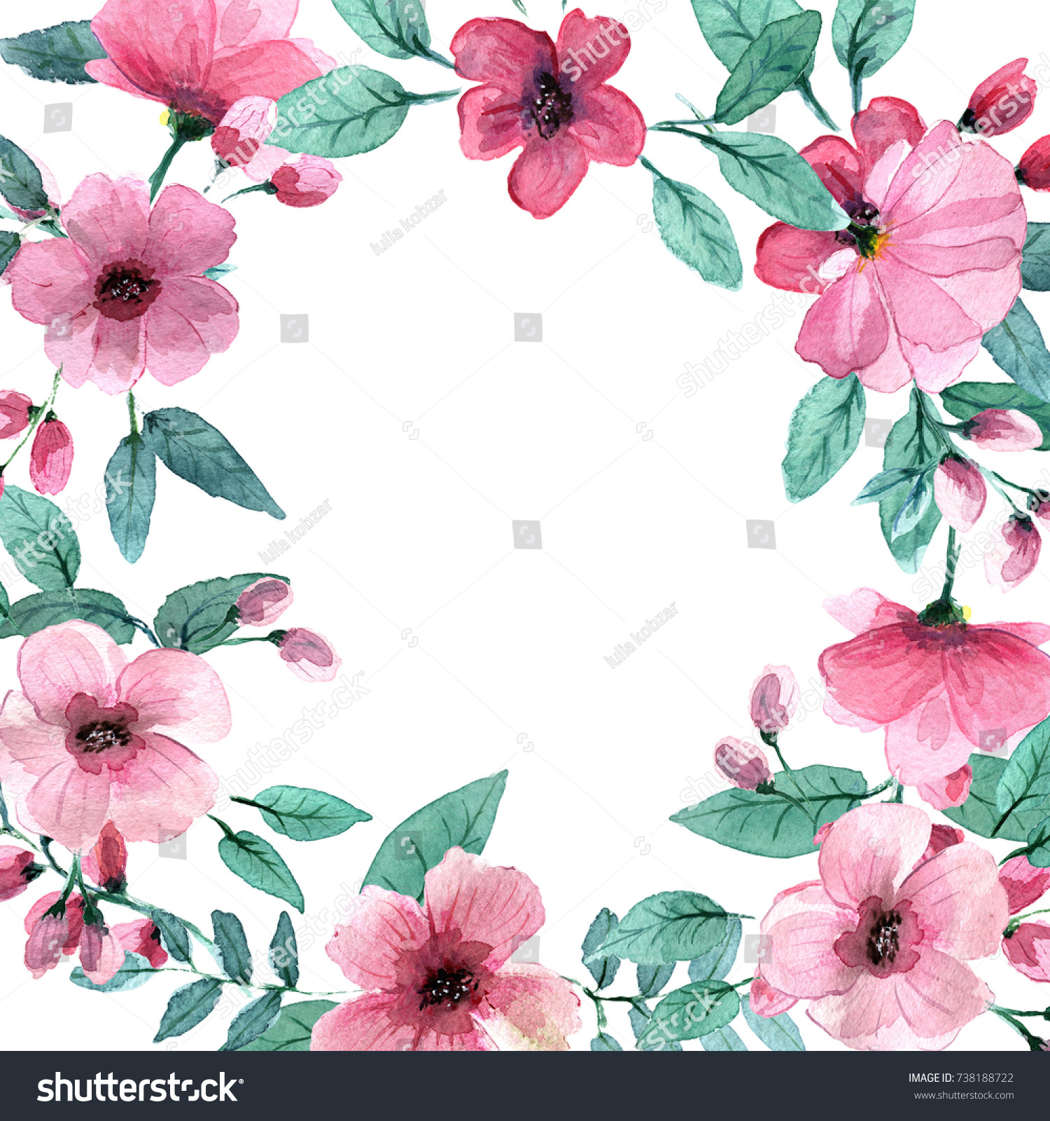 Delicate Pink Flowers Style Watercolors Stock Illustration 738188722