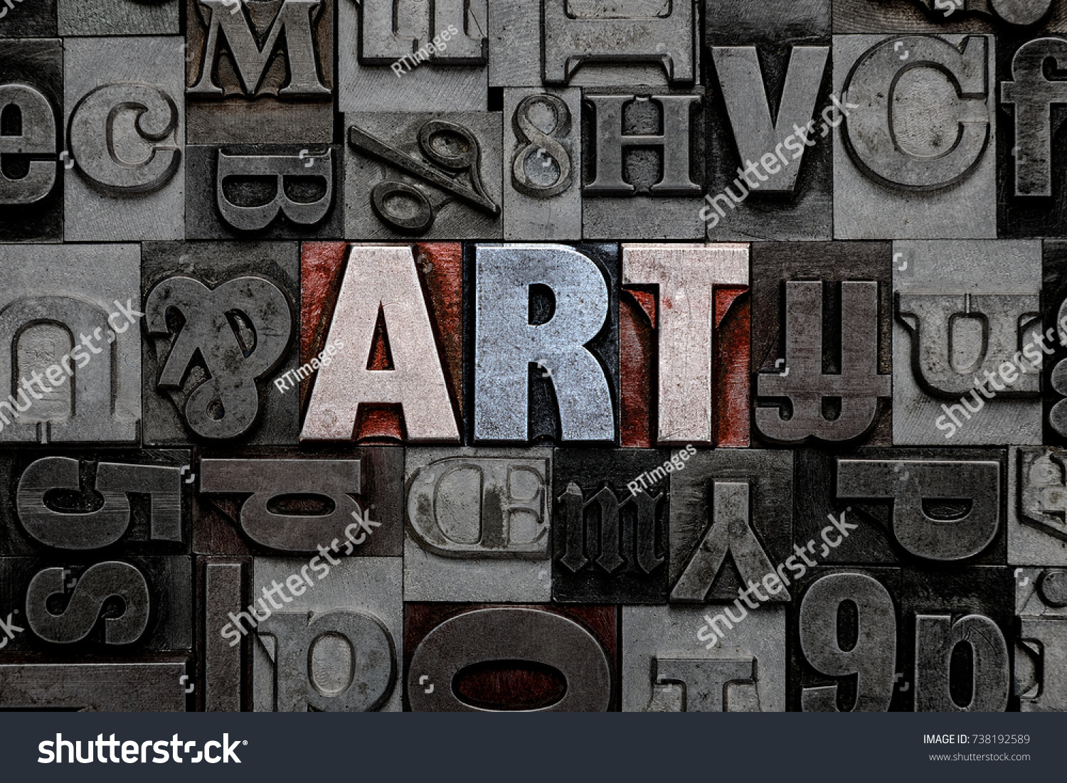 Old Metal Letters Word Art Made Old Metal Letterpress Stock Photo 738192589