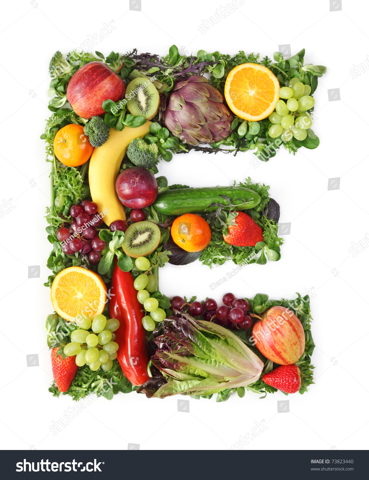 Fruit Vegetable Alphabet Letter E Stock Photo 73823440