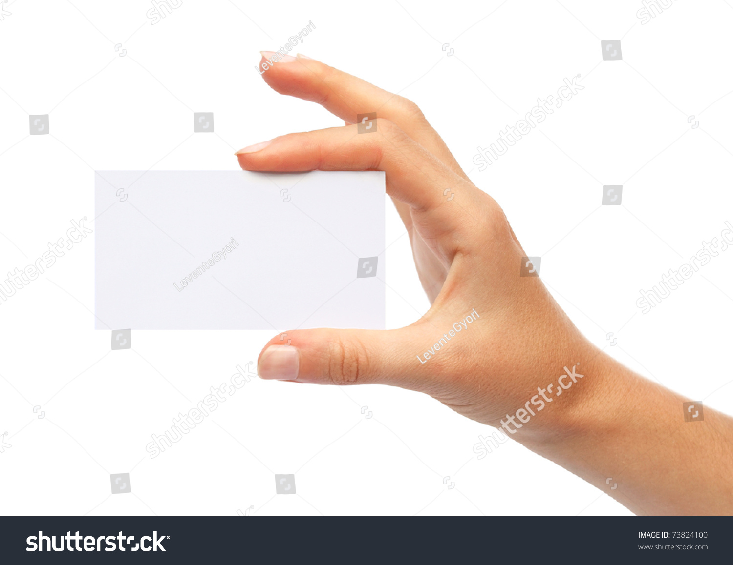 Hand Holding Blank Business Card Isolated Stock Photo (Safe to Use ...