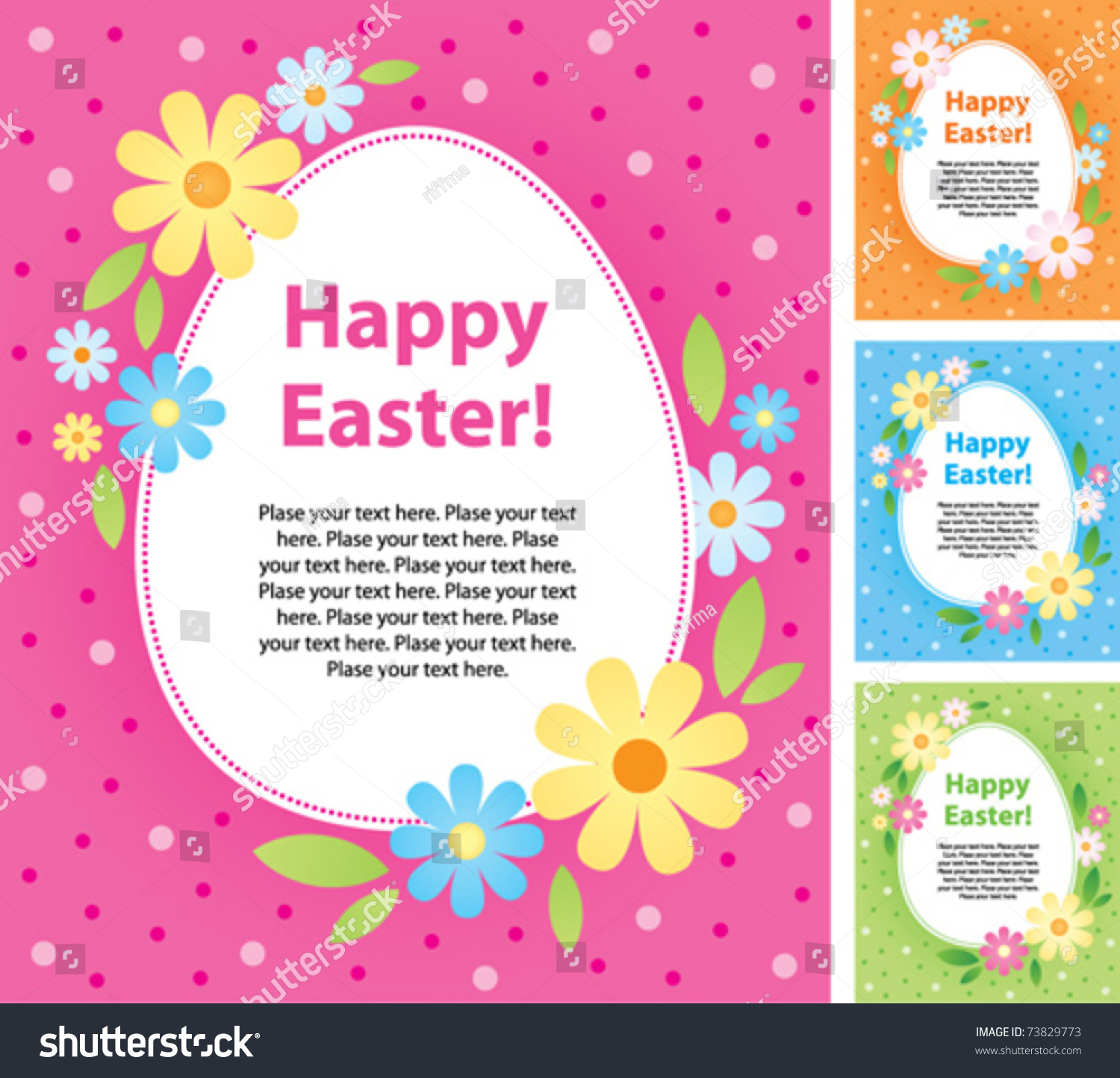 Set Vector Easter Greeting Cards Vector 73829773 Shutterstock – Easter Greeting Cards