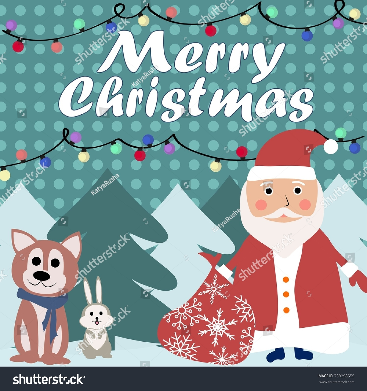 Merry Christmas Card 2018 Stock Vector (Royalty Free) 738298555 ...