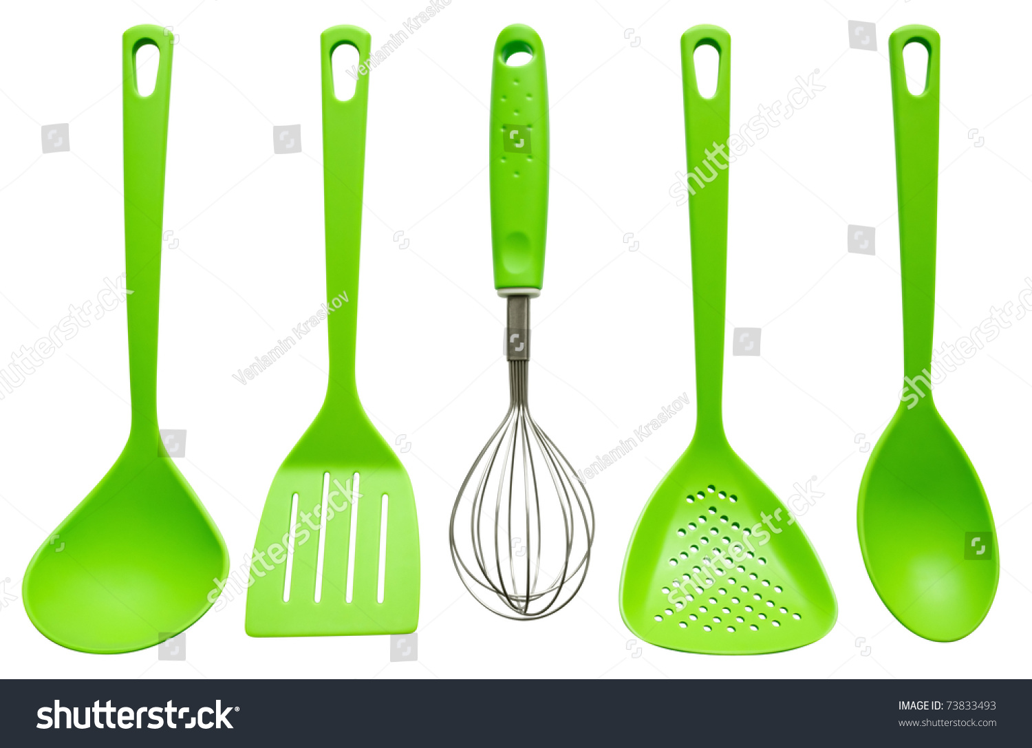 Plastic Kitchen Utensils Isolated On White Stock Photo (Royalty Free)  73833493   Shutterstock