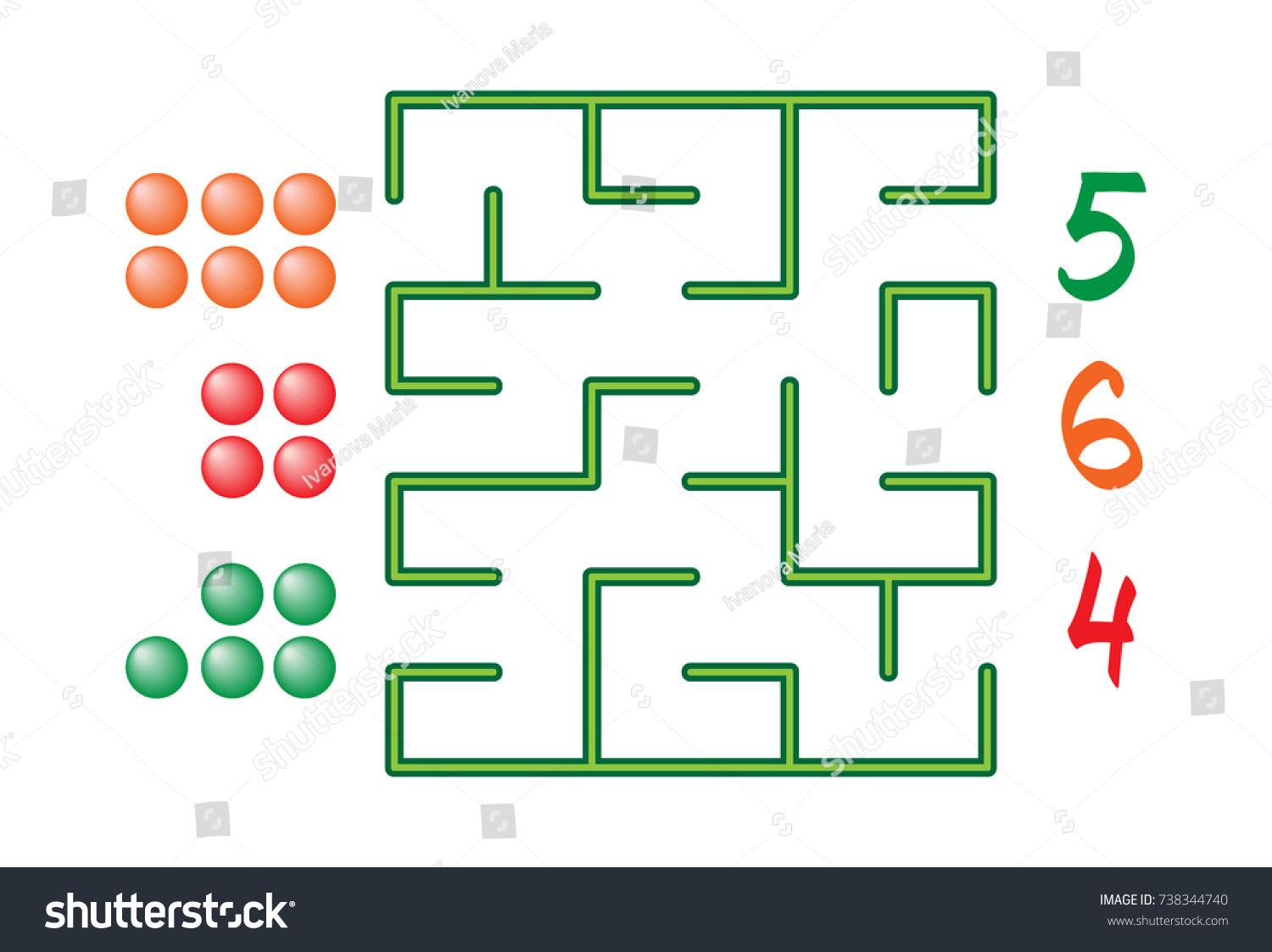 Maze Numbers Children On White Background Stock Vector HD (Royalty ...