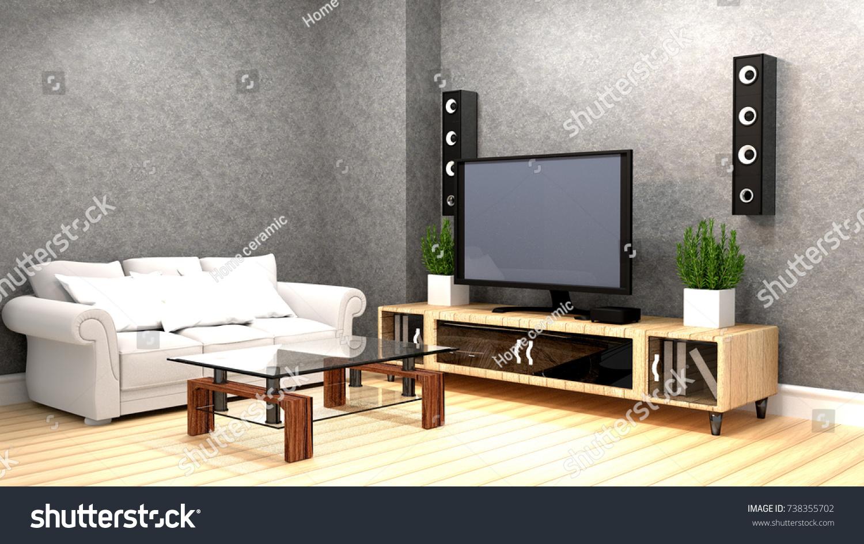 Karaoke Room Modern Red Style Tv Stock Illustration 738355702  # Meuble Tv Kaorka