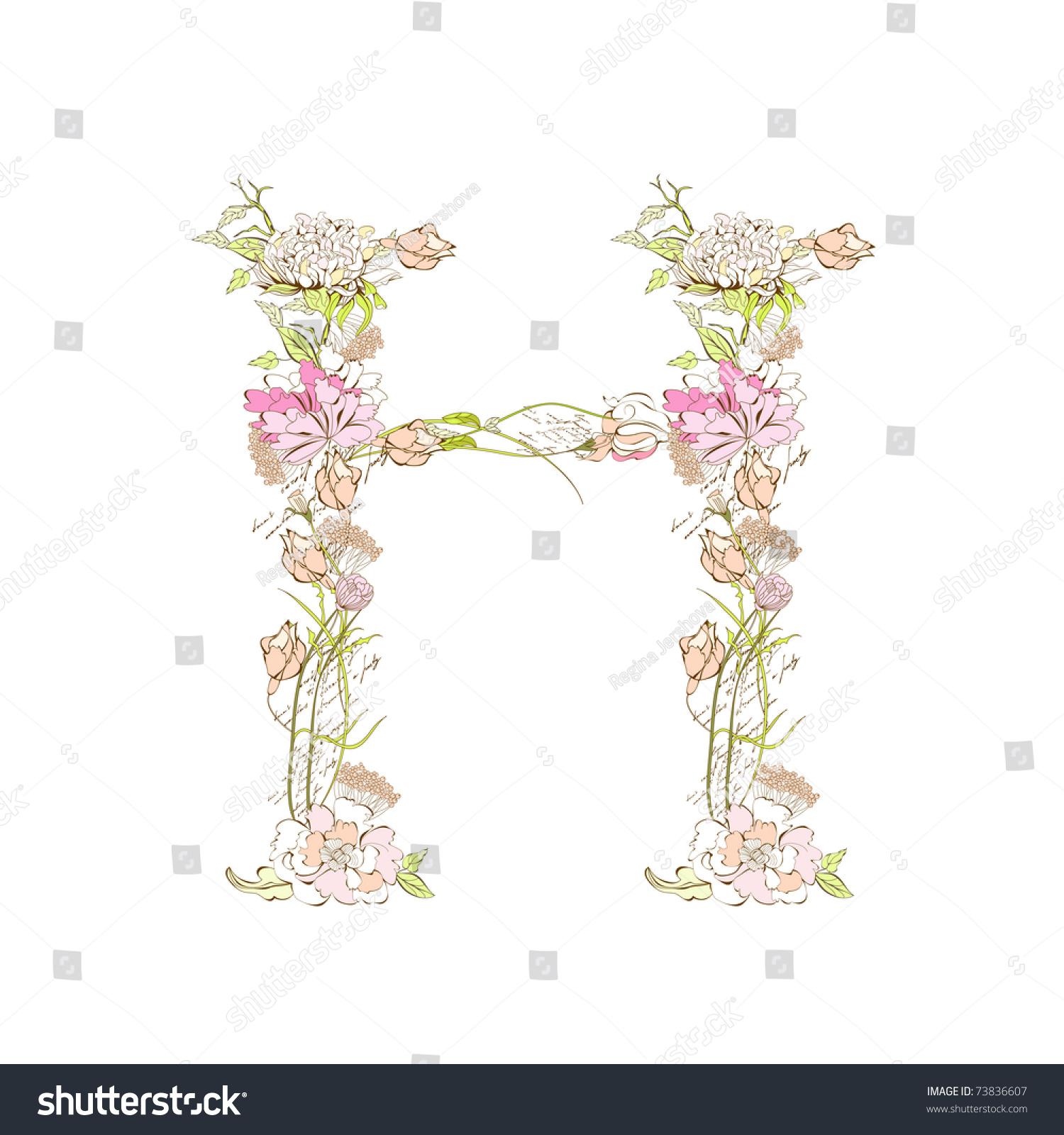 Spring Floral Font Letter H Stock Vector Illustration