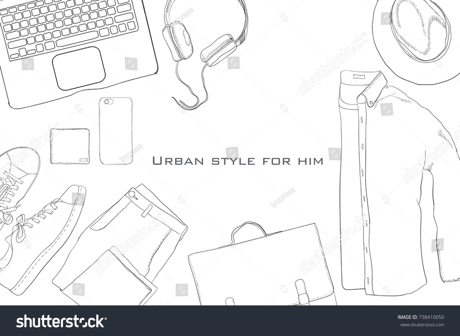 Vector Illustration Hand Drawn Doodle Flat Stock Royalty How To Diagram Of Tie Shoes Lay Coordination Folded Shirt