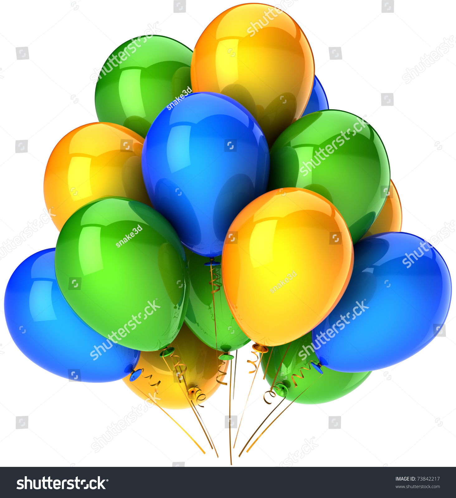 Green and blue balloons - Party Balloons Blue Yellow Green Colorful Shiny Birthday Anniversary Decoration Blank 3d Render Isolated On