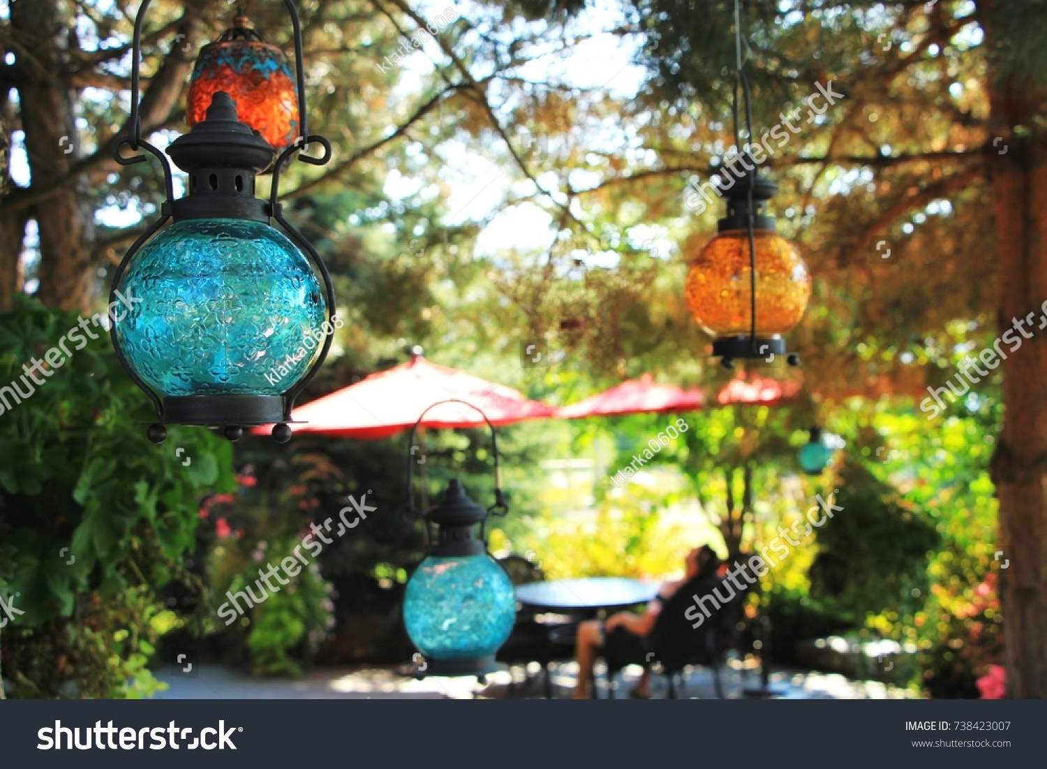 Colorful Outdoor Lampions Hanging Winery Garden Stock Photo Edit