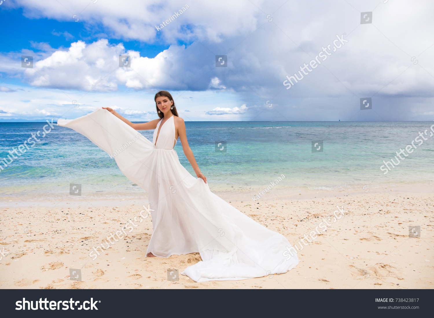 Happy Fiancee White Wedding Dress Big Stock Photo (Royalty Free ...