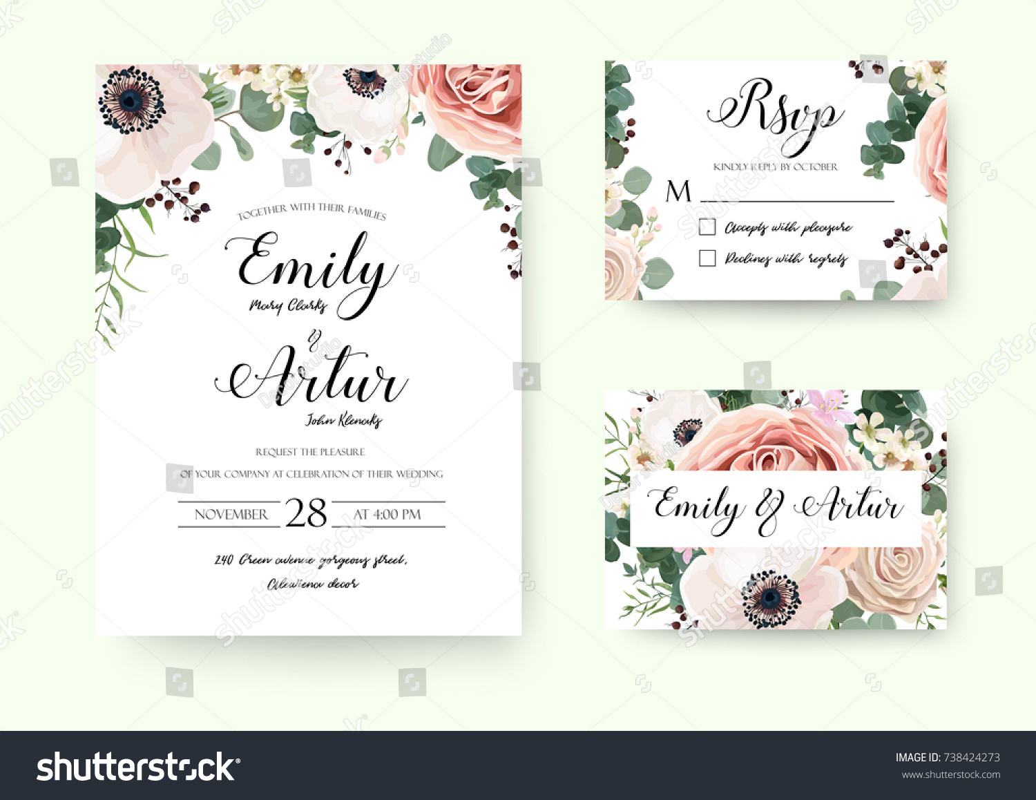 Wedding Invitation Floral Invite Rsvp Cute Stock Vector (2018 ...