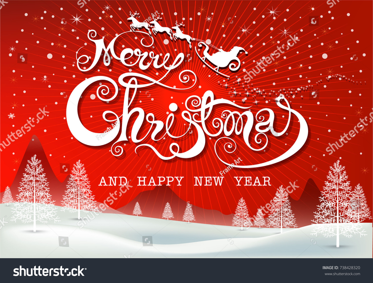 Merry Christmas Everyone Greeting Card Vintage Stock Vector Royalty