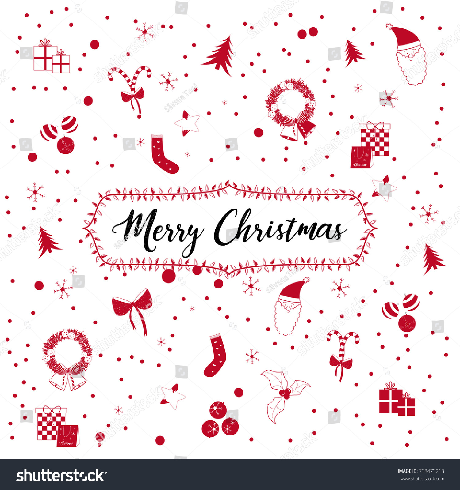 Icons symbols merry christmas red colour stock vector 738473218 icons symbols merry christmas with red colour biocorpaavc Images