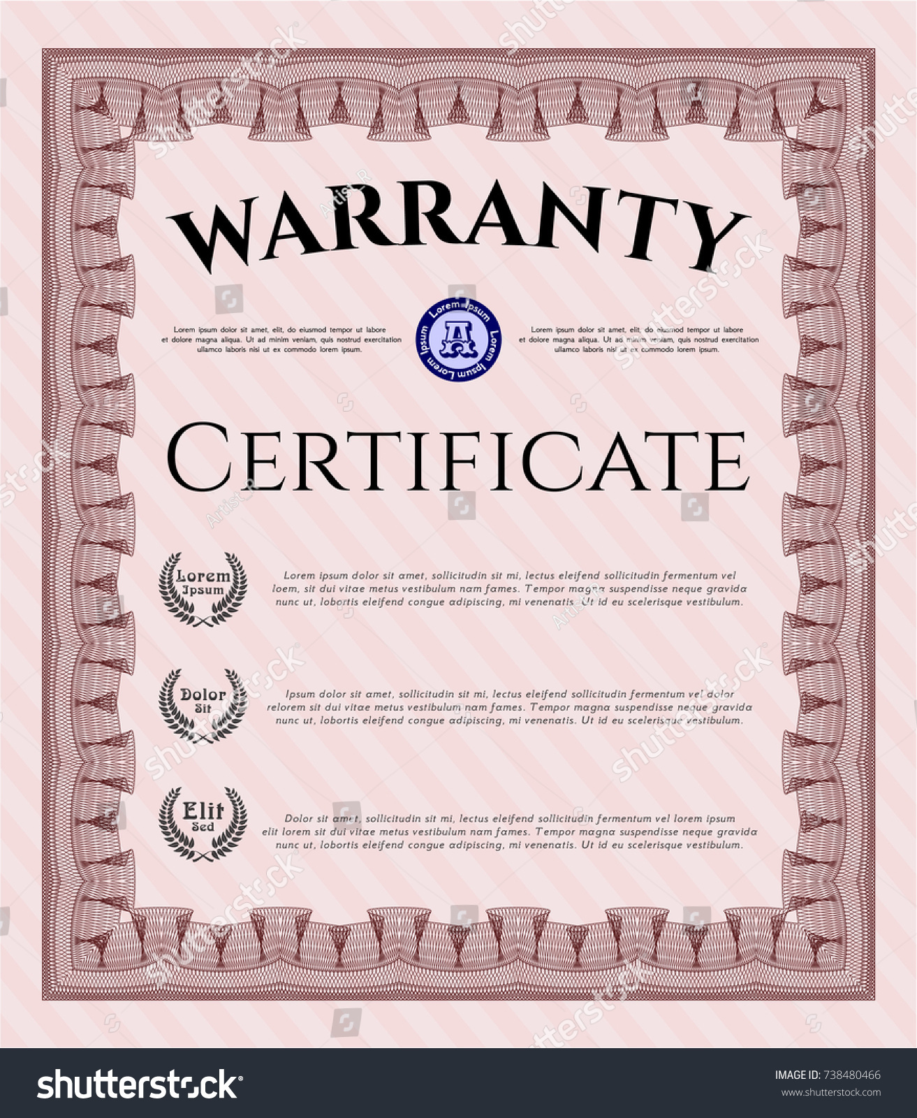 Red Formal Warranty Certificate Template Cordial Stock Vector ...
