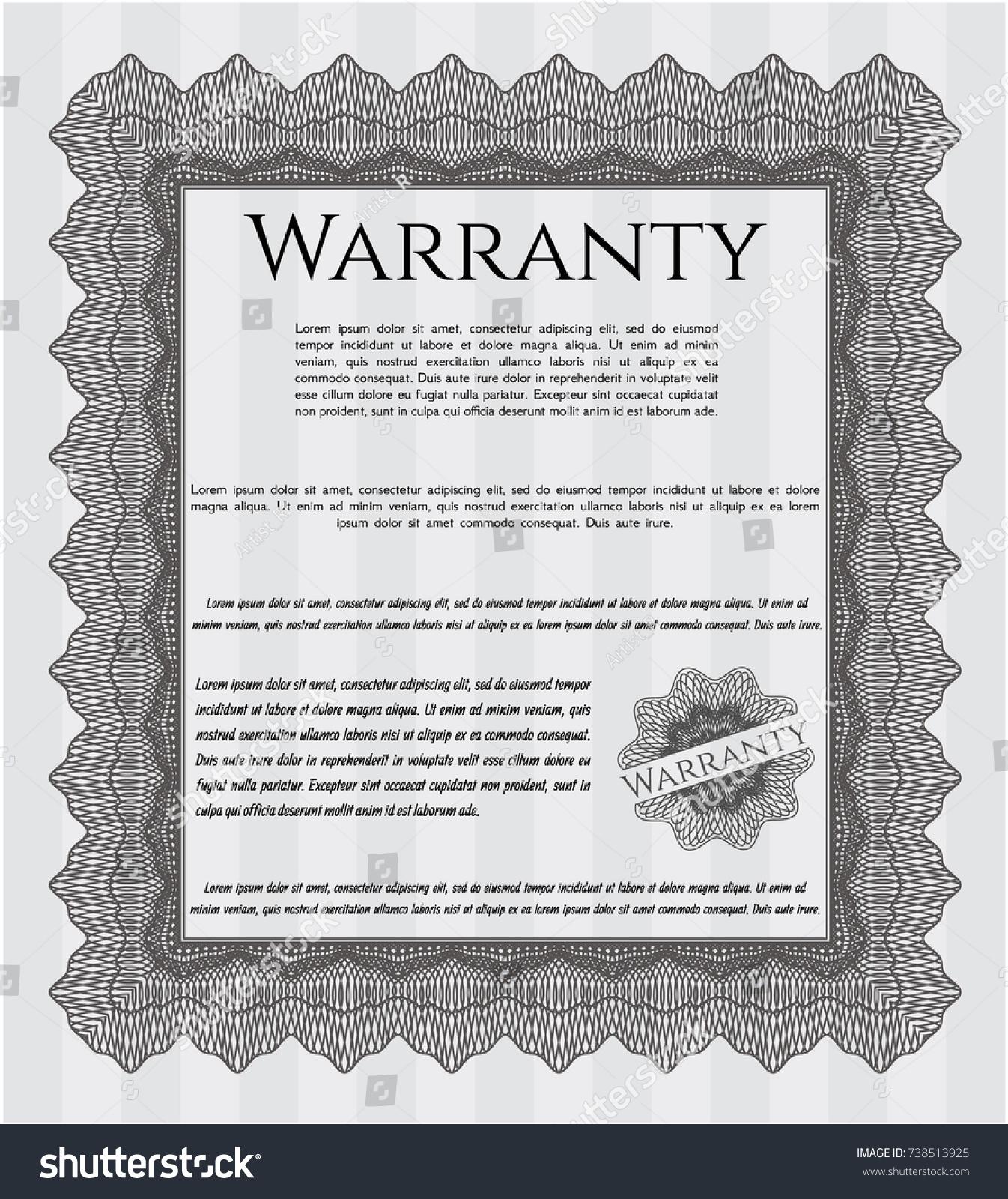 Grey Vintage Warranty Certificate Template Money Stock Vector