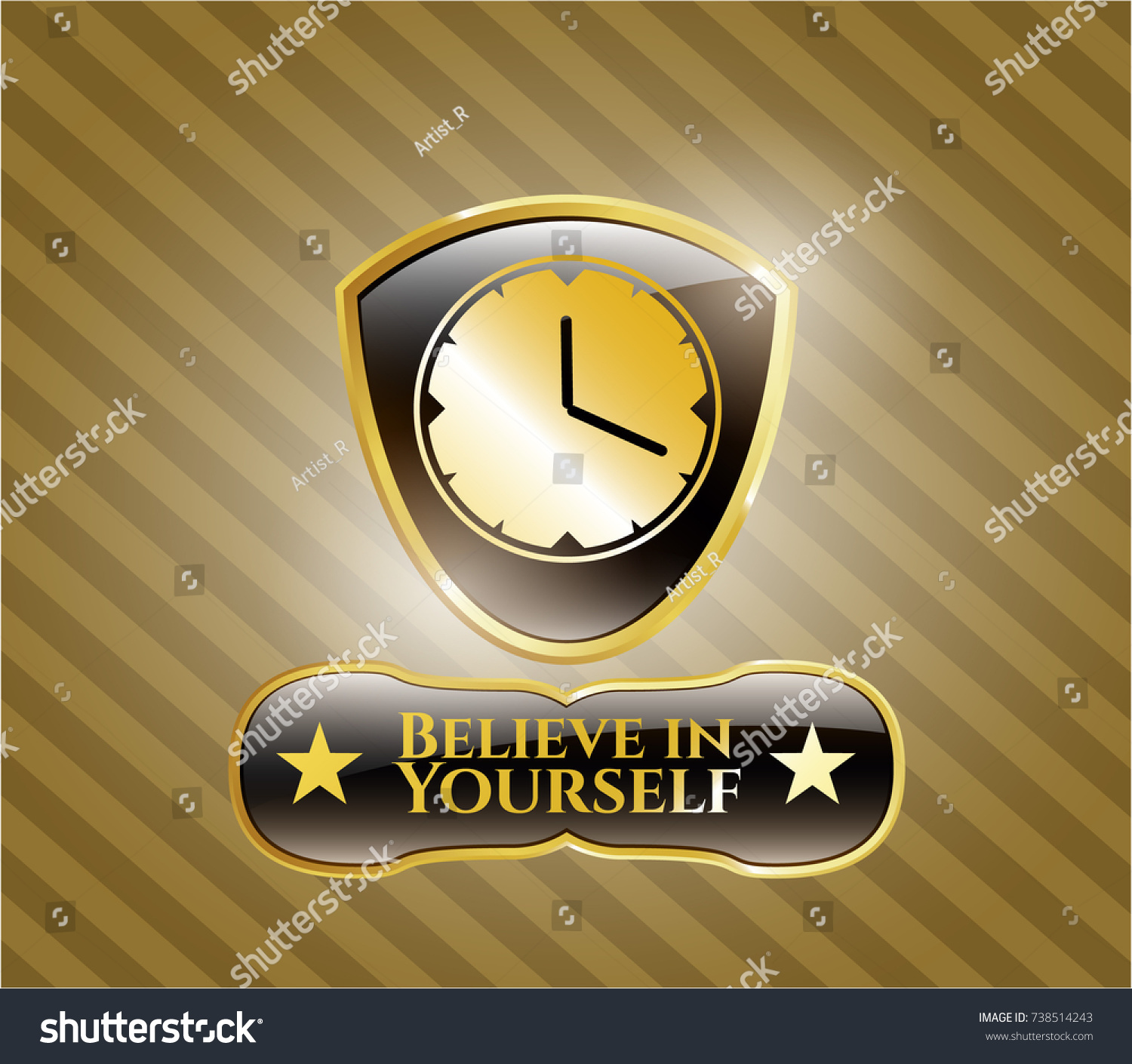 Gold Shiny Badge Clock Time Icon Stock Vector 2018 738514243