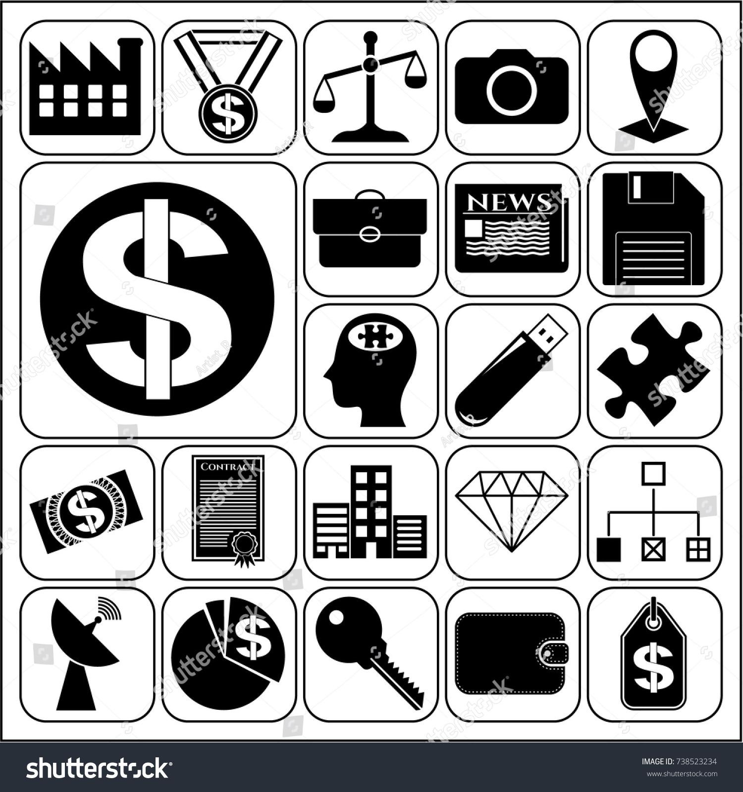 Set 22 Business High Quality Symbols Stock Vector 738523234