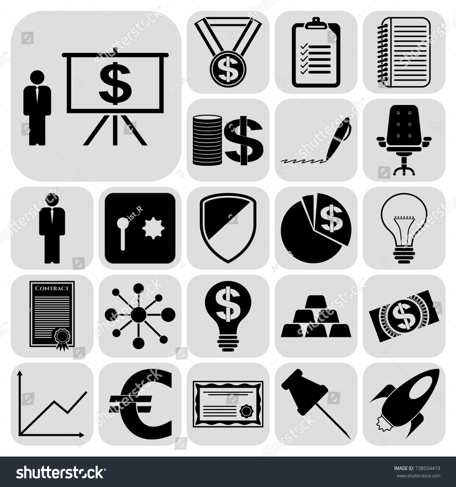 Set 22 Business High Quality Symbols Stock Vector 738554419
