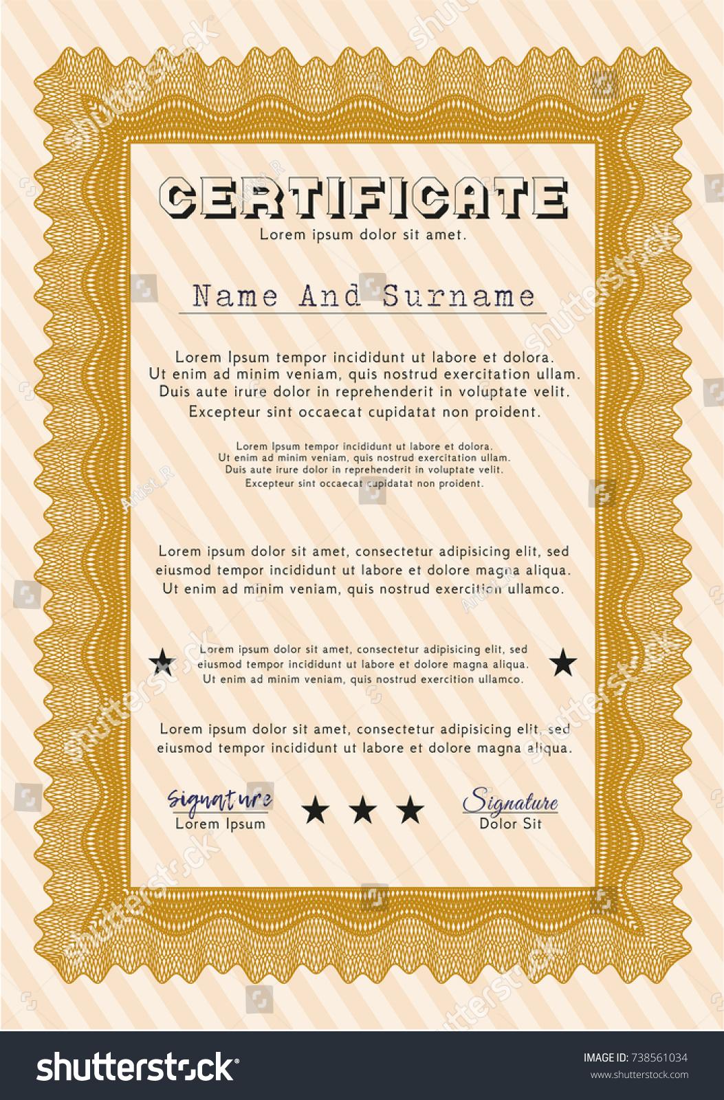 orange certificate diploma template complex background stock  orange certificate or diploma template complex background retro design customizable easy