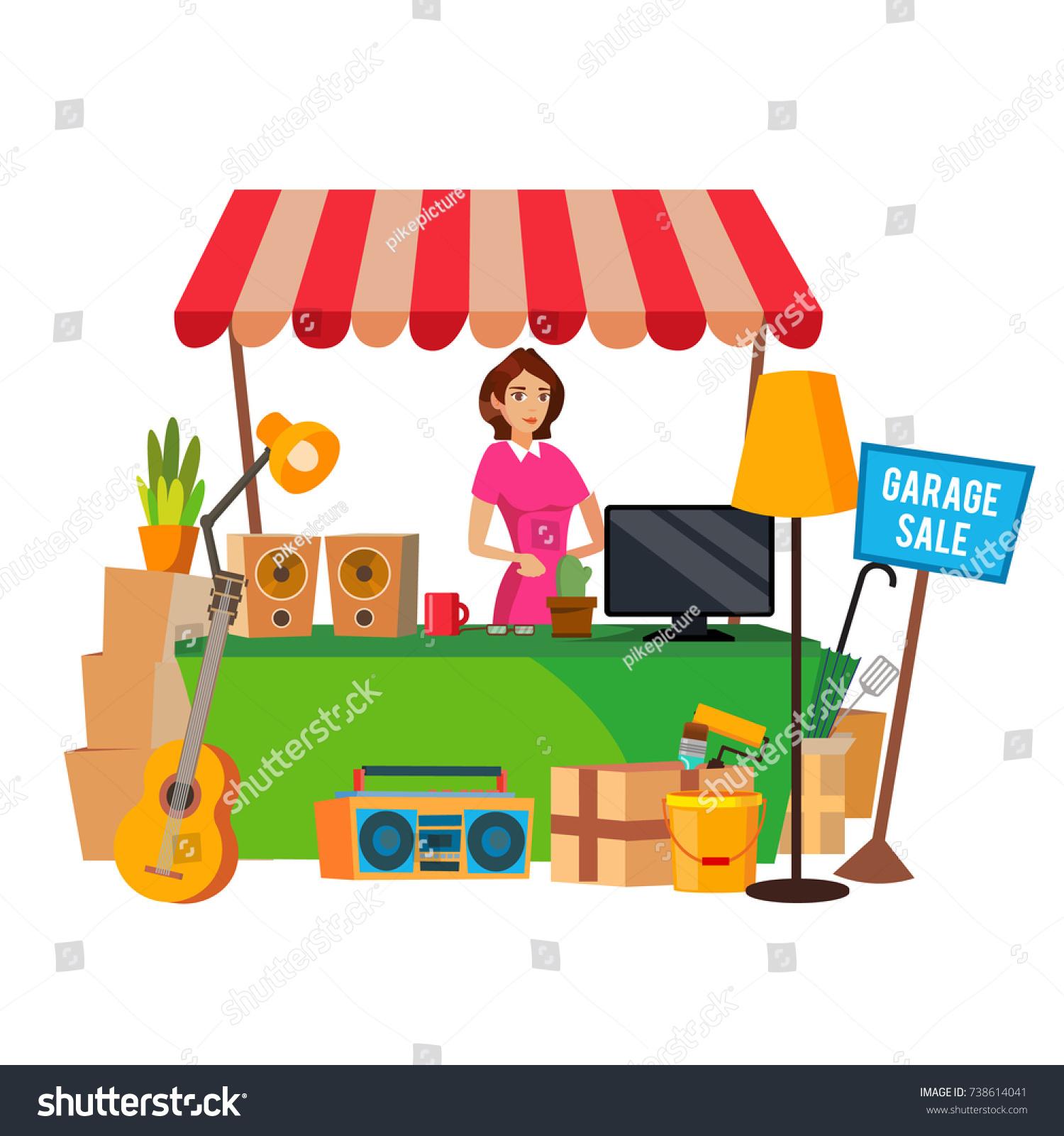 Yard Sale Vector Household Items Woman Manning A Garage Cartoon Character