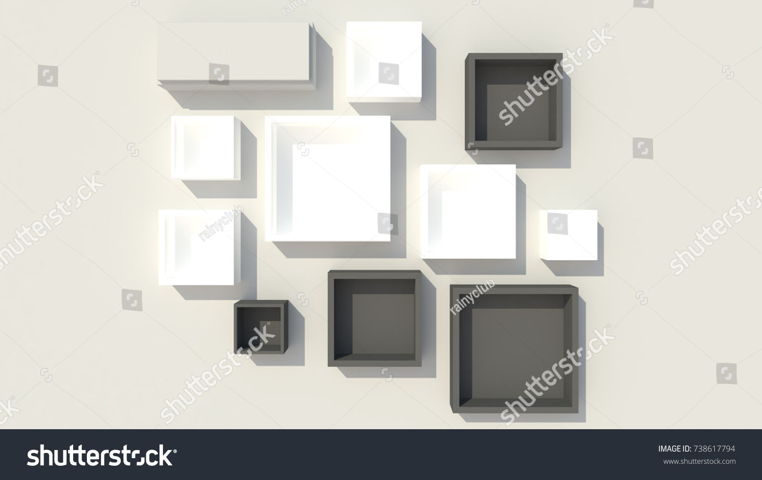 3d interior with white square wall frames and black wall frames in square and rectangle shapes - White Square Frames