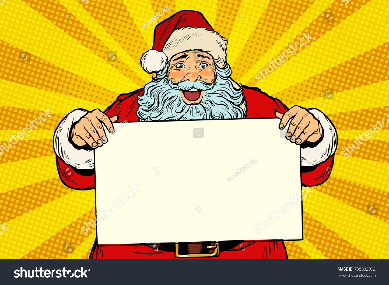 Joyful Santa Claus Poster Template Pop Stock Vector 738632992 ...