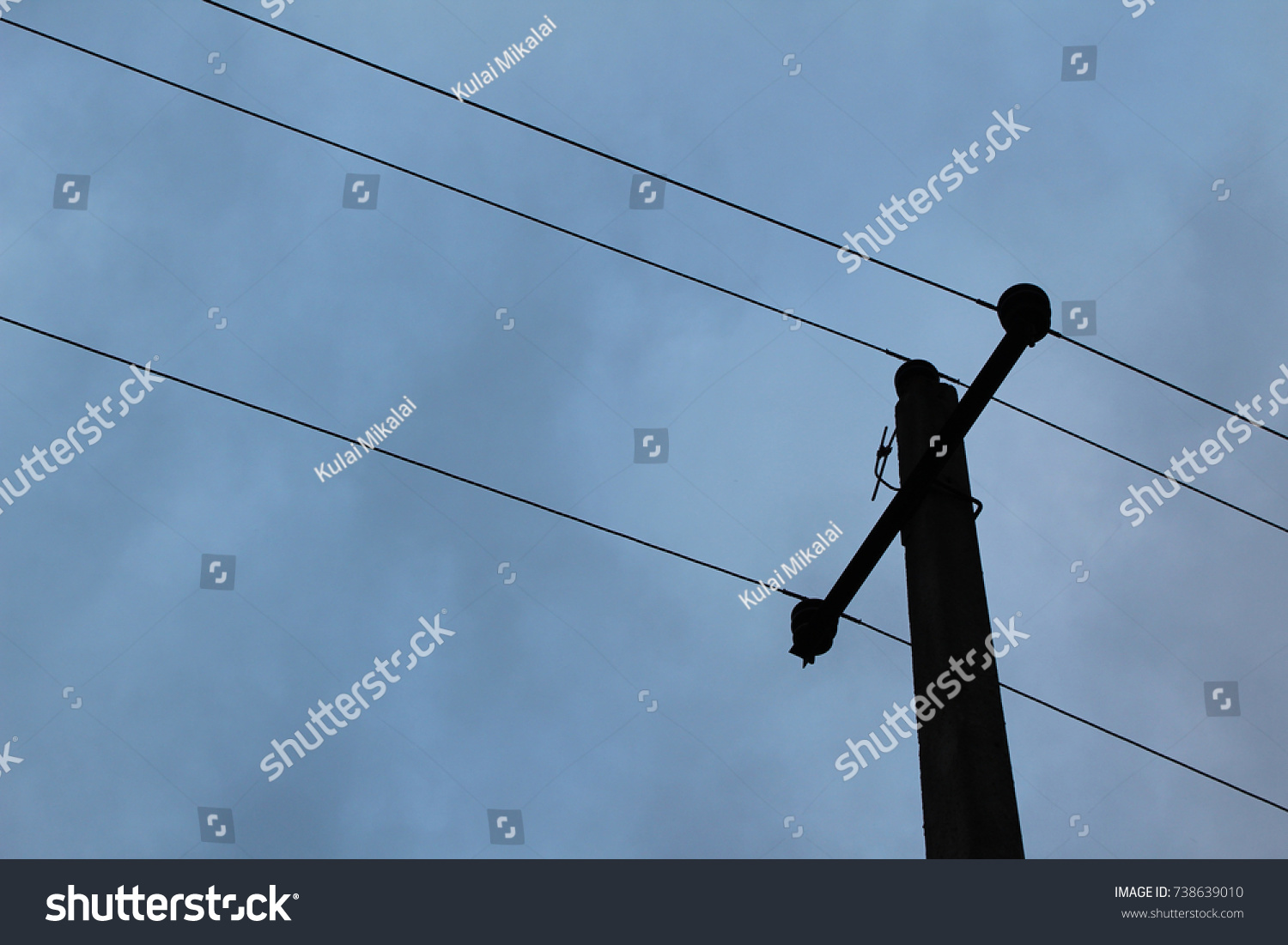 Black Post Electric Wires Against Dark Stock Photo (Edit Now ...