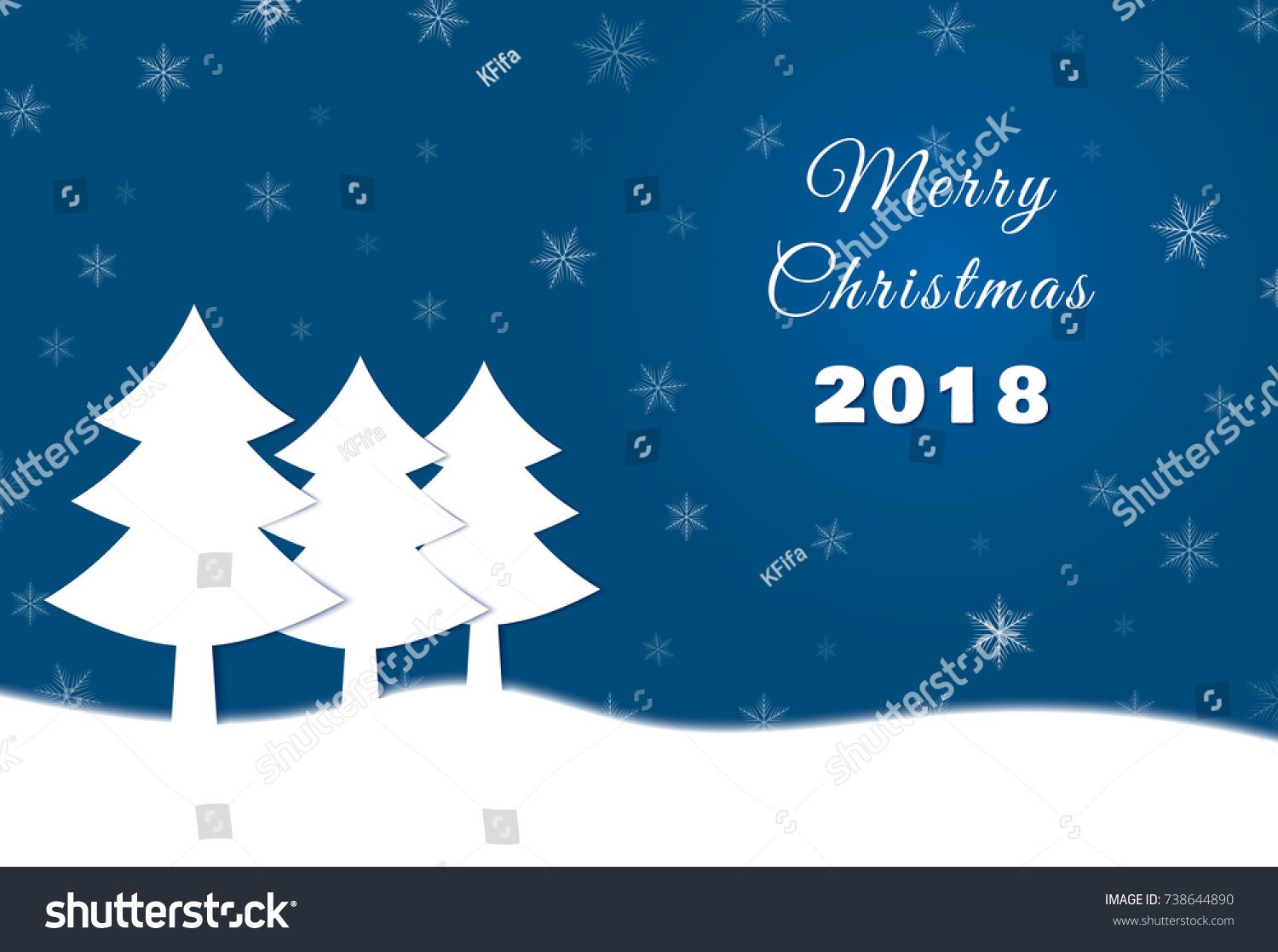 Christmas Card Paper Spruce On Stock Vector HD Royalty Free - Christmas card template blue