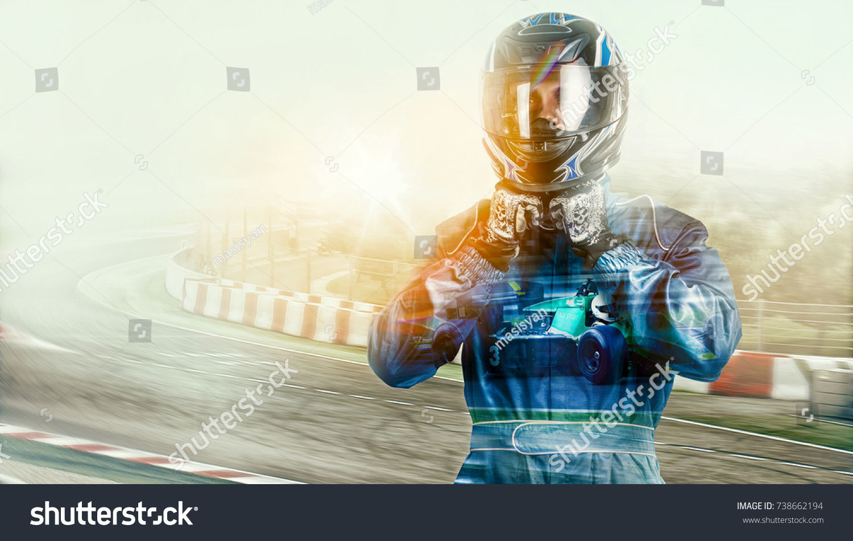 Kart crossing the finish line racer. helmet. effects #738662194