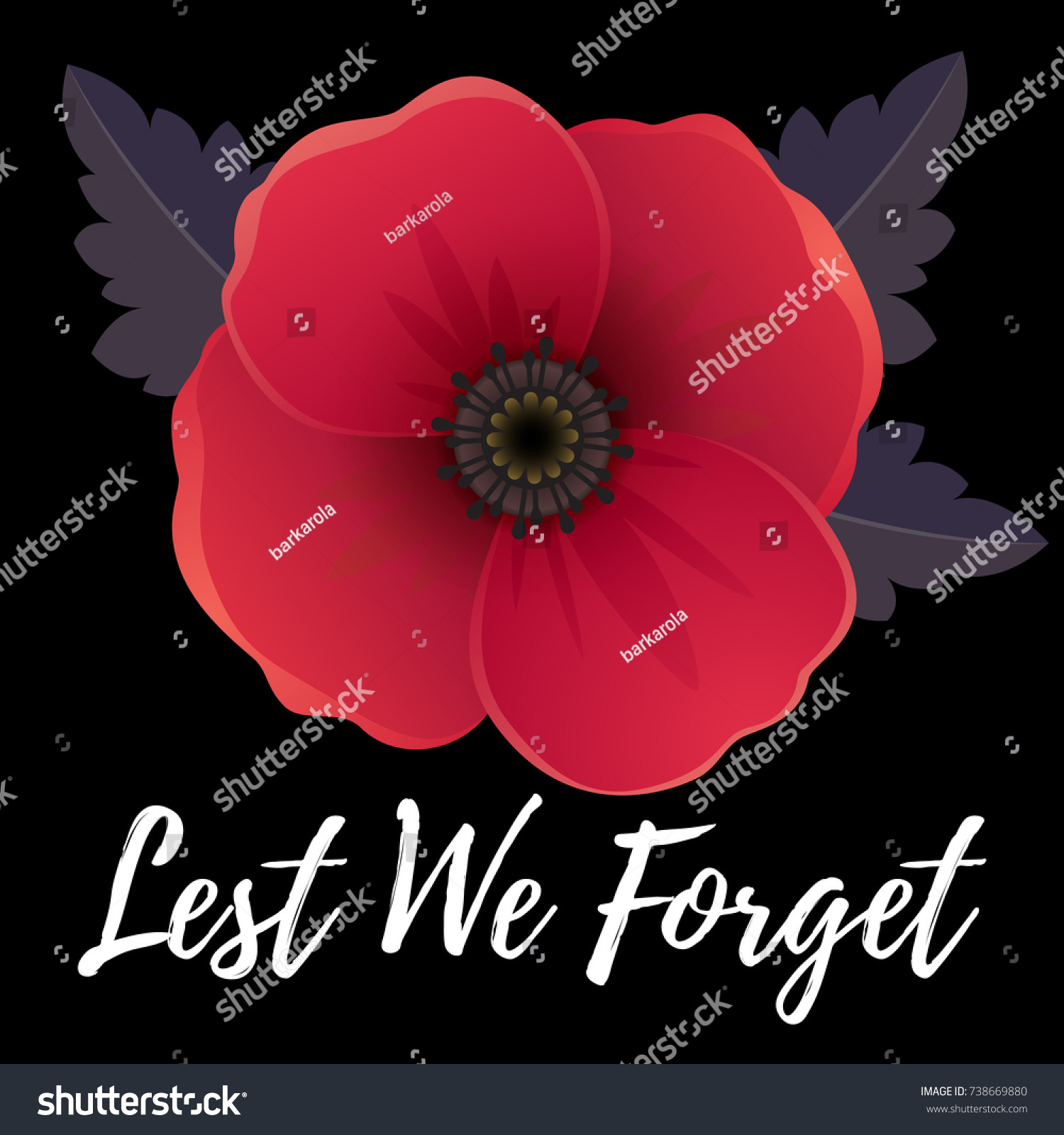 Vector illustration bright poppy flower remembrance stock vector vector illustration of a bright poppy flower remembrance day symbol lest we forget lettering buycottarizona